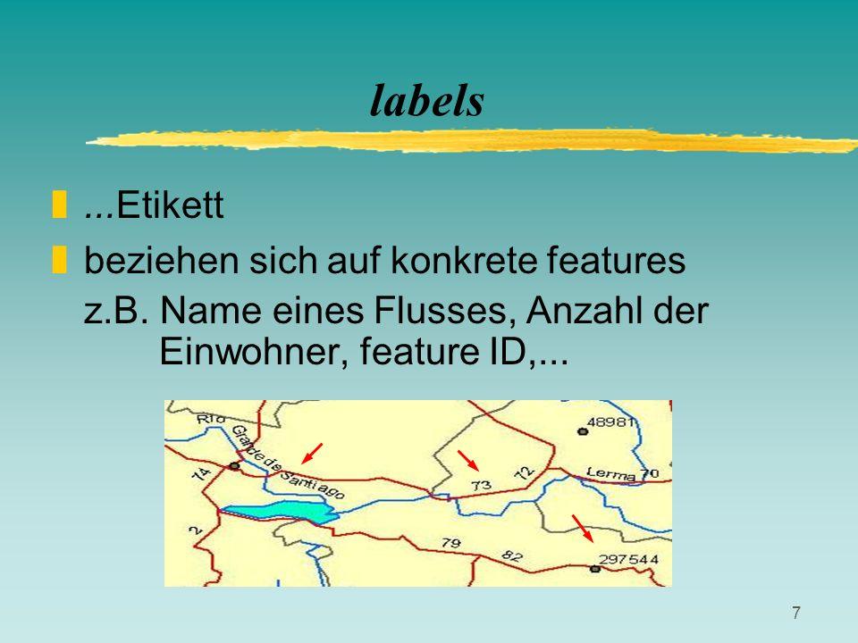 7 labels z...Etikett zbeziehen sich auf konkrete features z.B. Name eines Flusses, Anzahl der Einwohner, feature ID,...