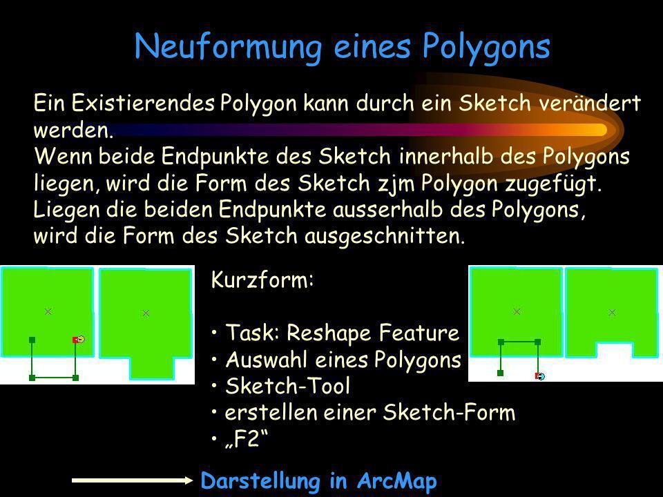 Neuformung eines Polygons Ein Existierendes Polygon kann durch ein Sketch verändert werden. Wenn beide Endpunkte des Sketch innerhalb des Polygons lie