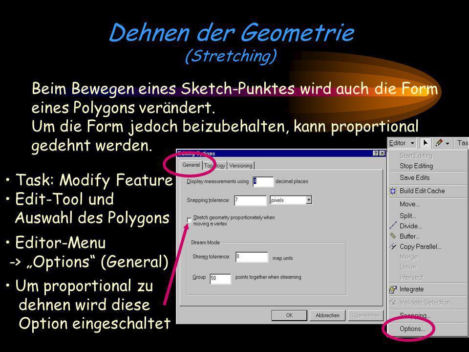 Dehnen der Geometrie (Stretching) Beim Bewegen eines Sketch-Punktes wird auch die Form eines Polygons verändert. Um die Form jedoch beizubehalten, kan