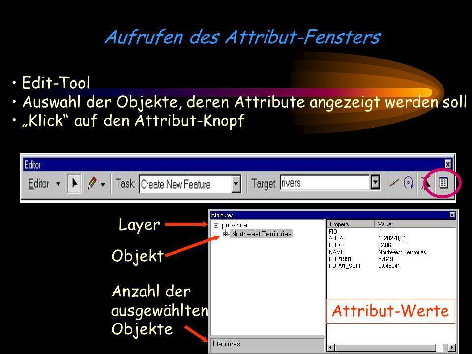 Aufrufen des Attribut-Fensters Edit-Tool Auswahl der Objekte, deren Attribute angezeigt werden soll Klick auf den Attribut-Knopf Layer Objekt Attribut