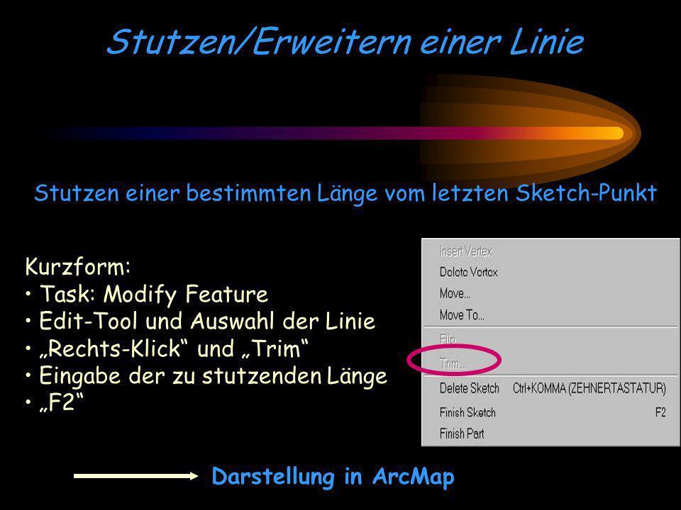 Stutzen/Erweitern einer Linie Stutzen einer bestimmten Länge vom letzten Sketch-Punkt Darstellung in ArcMap Kurzform: Task: Modify Feature Edit-Tool u