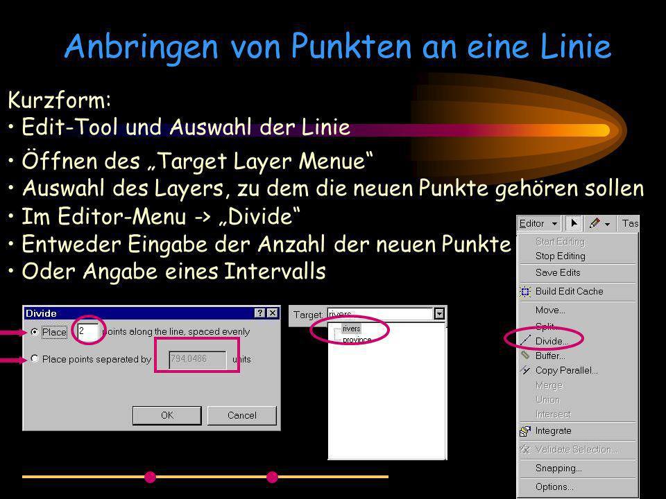Anbringen von Punkten an eine Linie Kurzform: Edit-Tool und Auswahl der Linie Öffnen des Target Layer Menue Auswahl des Layers, zu dem die neuen Punkt