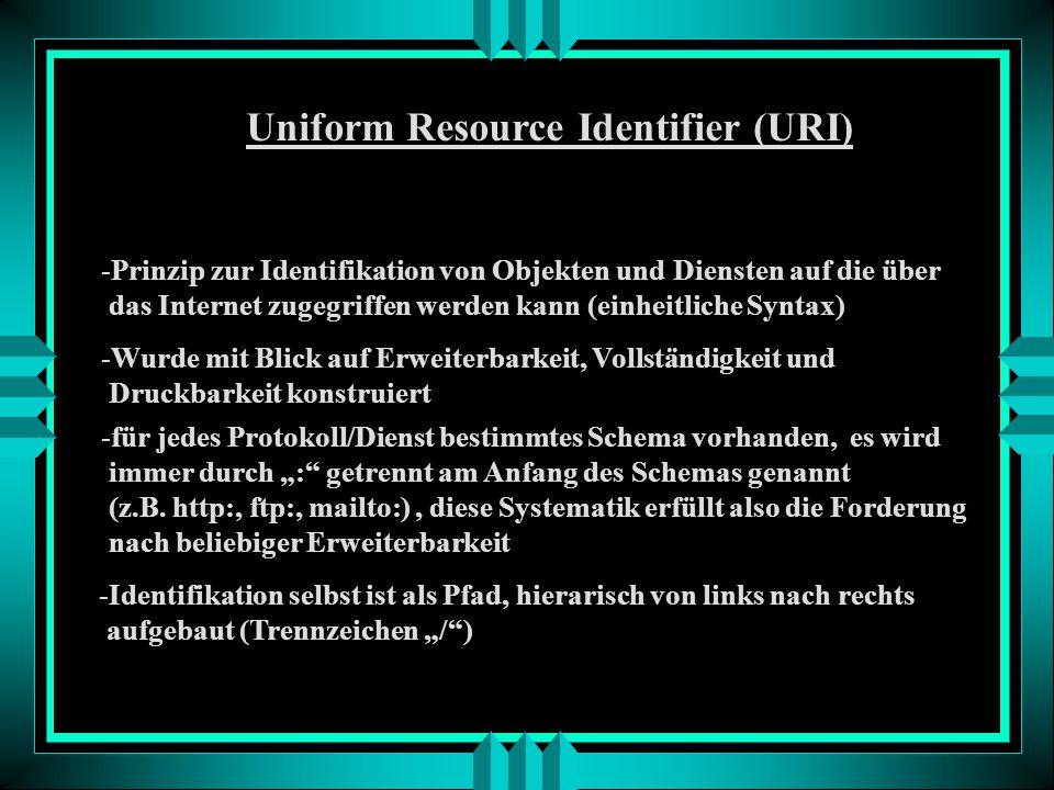Stop! Was haben wir jetzt? http://www.ikg.uni-bonn.de/Lehre/Lehre-Frame.htm Beispiel: Dieses Gebilde wird auch als URI, oder in diesem Falle auch als