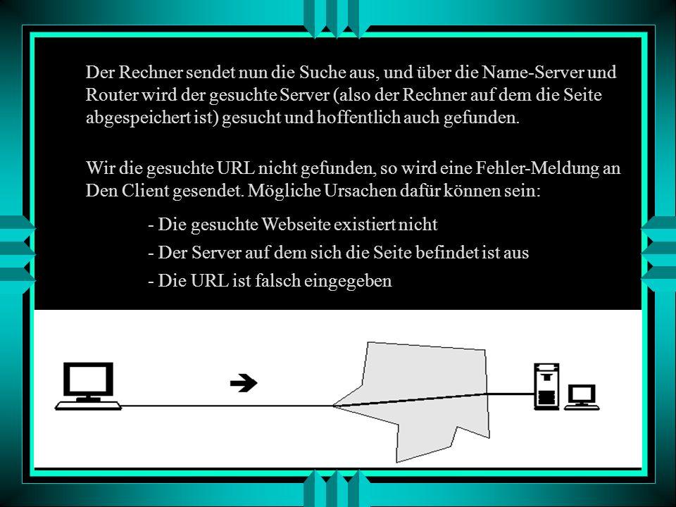 Mechanismus des Internet am Beispiel eines http-Protokolls Der Benutzer stellt an seinem Rechner (auch Client genannt) eine Anfrage (Request). Das gan