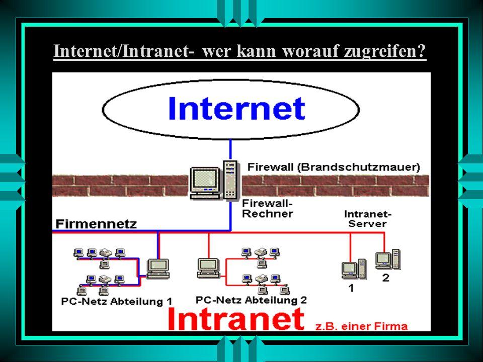 Internet und Intranet - Vergleich: - Es gibt ein Internet aber viele Intranets - Ein Intranet ist ein internes Informations- und Kommunikationsnetz z.