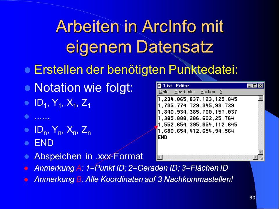 29 Subdivision degree parameter Mittels weiterer Unterteilung der TIN`s ist eine weichere Darstellung der Höhenlinien möglich. Vorsicht! Datenaufwand