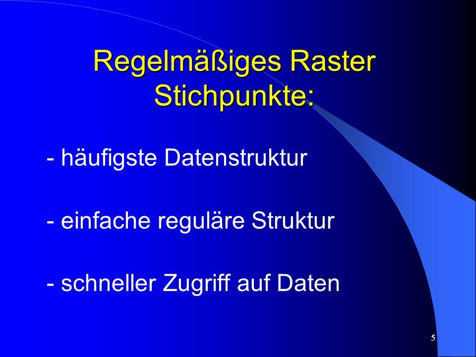 5 Regelmäßiges Raster Stichpunkte: - häufigste Datenstruktur - einfache reguläre Struktur - schneller Zugriff auf Daten