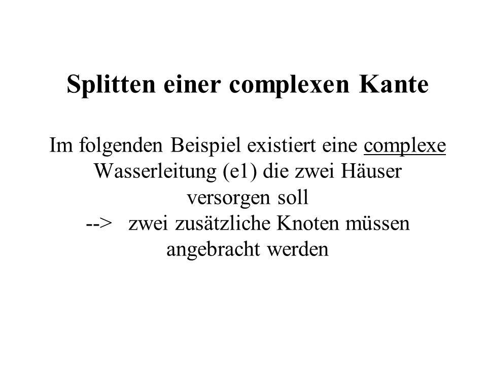 Splitten einer complexen Kante Im folgenden Beispiel existiert eine complexe Wasserleitung (e1) die zwei Häuser versorgen soll --> zwei zusätzliche Kn