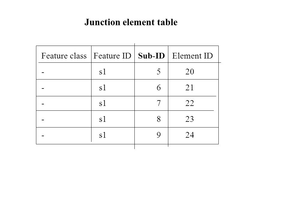 Junction element table Feature class Feature ID Sub-ID Element ID -s1520 -s1621 -s1722 -s1823 -s1924