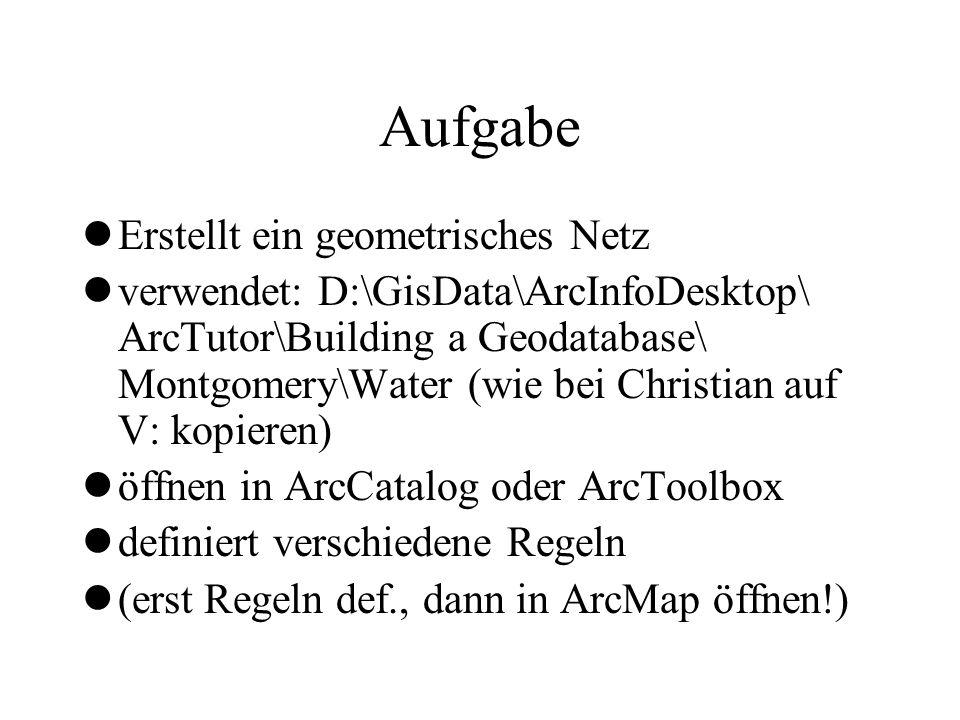 Aufgabe lErstellt ein geometrisches Netz lverwendet: D:\GisData\ArcInfoDesktop\ ArcTutor\Building a Geodatabase\ Montgomery\Water (wie bei Christian a
