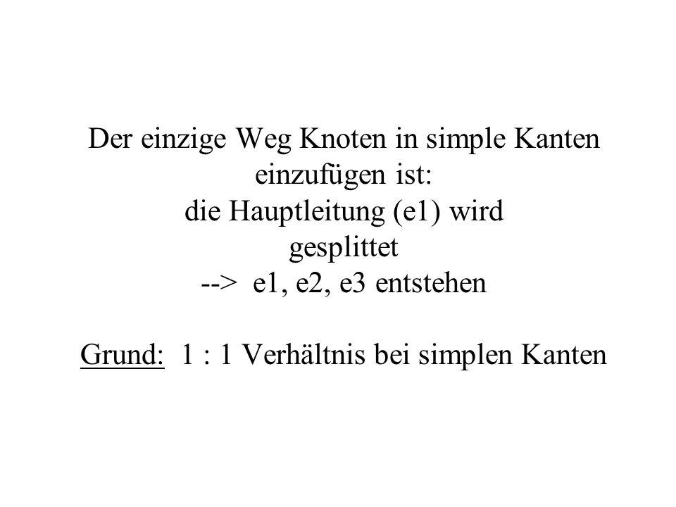 Der einzige Weg Knoten in simple Kanten einzufügen ist: die Hauptleitung (e1) wird gesplittet --> e1, e2, e3 entstehen Grund: 1 : 1 Verhältnis bei sim