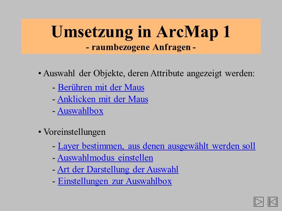 Umsetzung in ArcMap 1 - raumbezogene Anfragen - Auswahl der Objekte, deren Attribute angezeigt werden: - Anklicken mit der MausAnklicken mit der Maus
