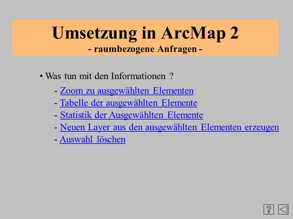 Umsetzung in ArcMap 2 - raumbezogene Anfragen - Was tun mit den Informationen ? - Tabelle der ausgewählten ElementeTabelle der ausgewählten Elemente -