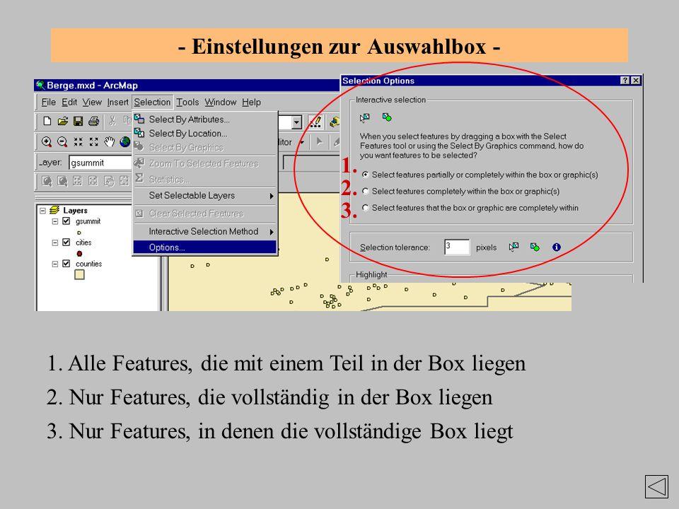 - Einstellungen zur Auswahlbox - 1. Alle Features, die mit einem Teil in der Box liegen 1. 2. 3. 2. Nur Features, die vollständig in der Box liegen 3.