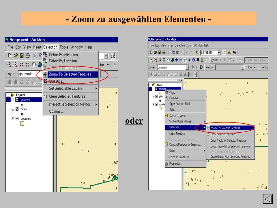 - Zoom zu ausgewählten Elementen - oder