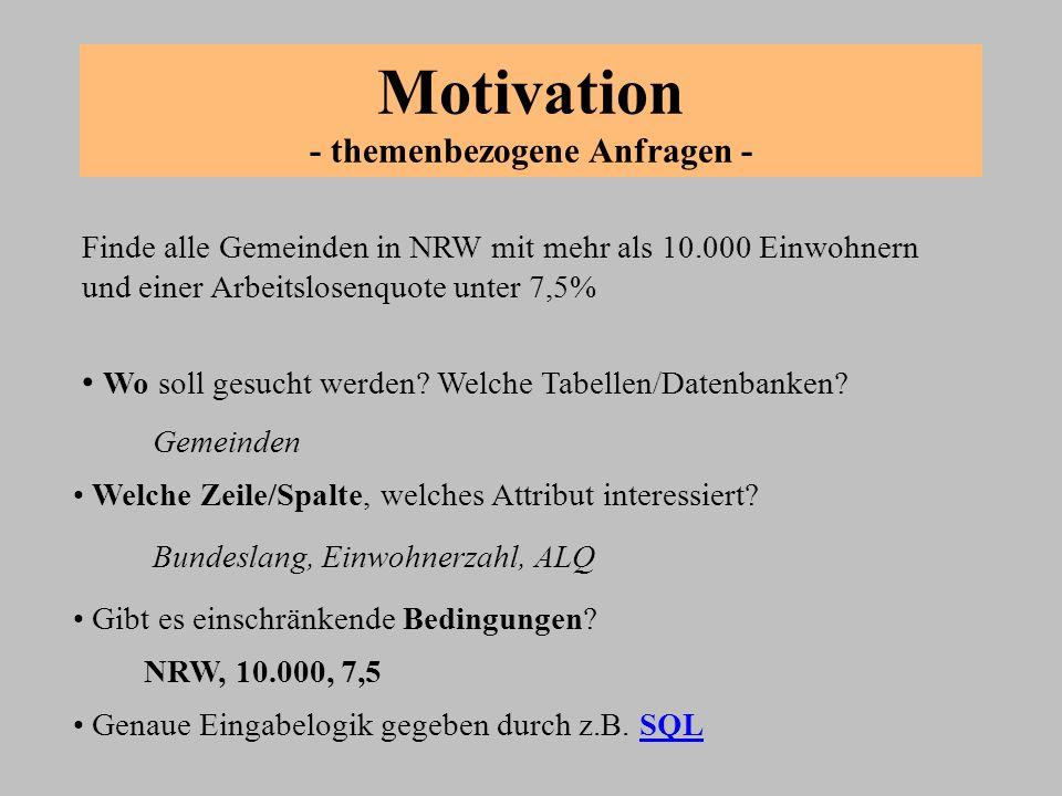 Motivation - themenbezogene Anfragen - Finde alle Gemeinden in NRW mit mehr als 10.000 Einwohnern und einer Arbeitslosenquote unter 7,5% Wo soll gesuc