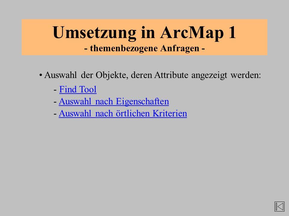 Umsetzung in ArcMap 1 - themenbezogene Anfragen - Auswahl der Objekte, deren Attribute angezeigt werden: - Auswahl nach EigenschaftenAuswahl nach Eige