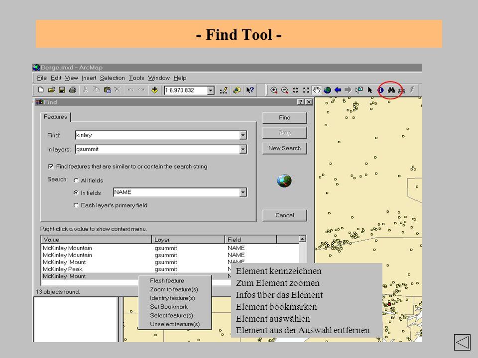 - Find Tool - Element kennzeichnen Zum Element zoomen Element aus der Auswahl entfernen Infos über das Element Element bookmarken Element auswählen