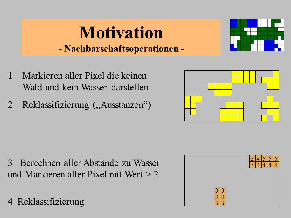 Motivation - Nachbarschaftsoperationen - 1 Markieren aller Pixel die keinen Wald und kein Wasser darstellen 3 Berechnen aller Abstände zu Wasser und M