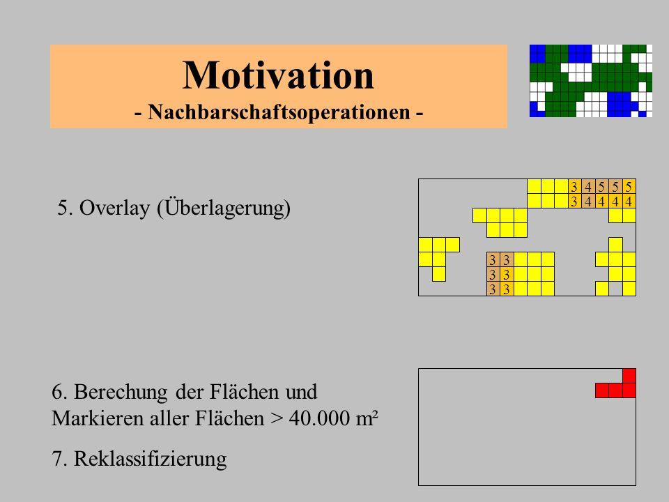 Zusammenfassung - Nachbarschaftsoperationen - - Wichtigste Nachbarschaftsoperation: Buffering - Bestimmen einer Pufferzone um ein Element - Reklassifizierung - Overlay / Verschneidung Anwendung bei Rasterdaten - Beziehung zwischen benachbarten Zellen von Interesse - Jede Zelle hat vier oder acht Nachbarn Anwendung bei Vektordaten