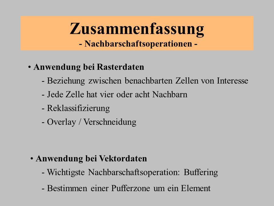 Zusammenfassung - Nachbarschaftsoperationen - - Wichtigste Nachbarschaftsoperation: Buffering - Bestimmen einer Pufferzone um ein Element - Reklassifi