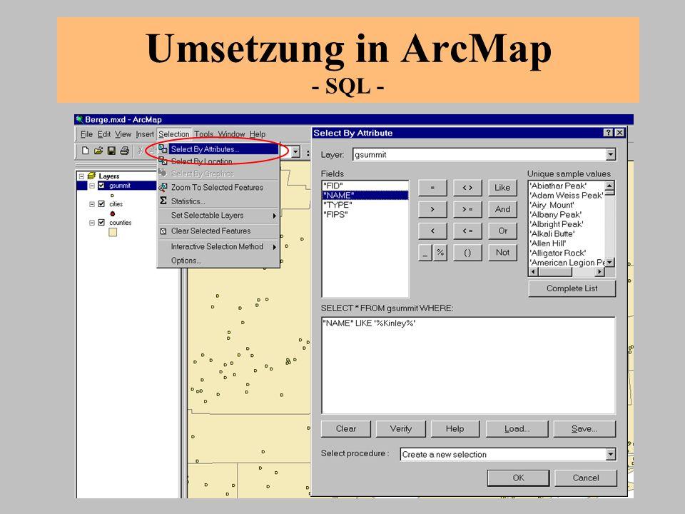 Aufgabe 2 Ziel: Anwendung von SQL und Verarbeiten von Suchergebnissen Datensatz für diese Übung: V:\002.mxd 1.Wie viele Städte der USA haben einen Namen, in dem town vorkommt.