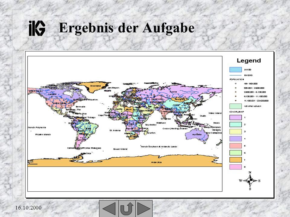 16.10.2000 Aufgabe 2 n Eure Aufgabe besteht darin, eine Karte mit Layern, Legende und dazugehörigem Nordpfeil zu erstellen. Überlegt genau welche und