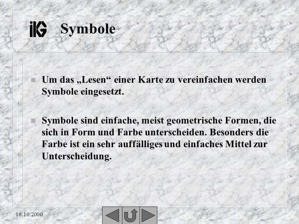 16.10.2000 Symbole n Um das Lesen einer Karte zu vereinfachen werden Symbole eingesetzt.