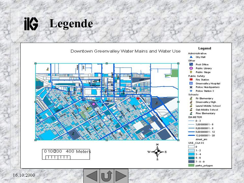 16.10.2000 Legende n Damit die Symbole für jedermann verständlich sind, ist meistens unten rechts auf jeder Karte eine Legende angelegt. n In der Lege