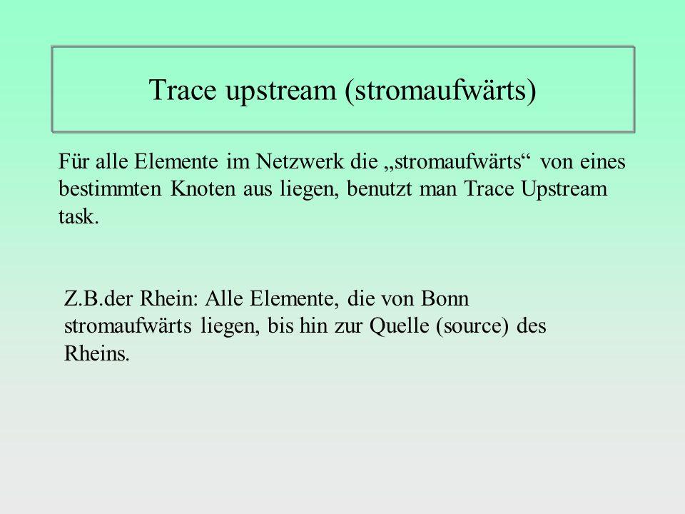 Trace upstream (stromaufwärts) Für alle Elemente im Netzwerk die stromaufwärts von eines bestimmten Knoten aus liegen, benutzt man Trace Upstream task.