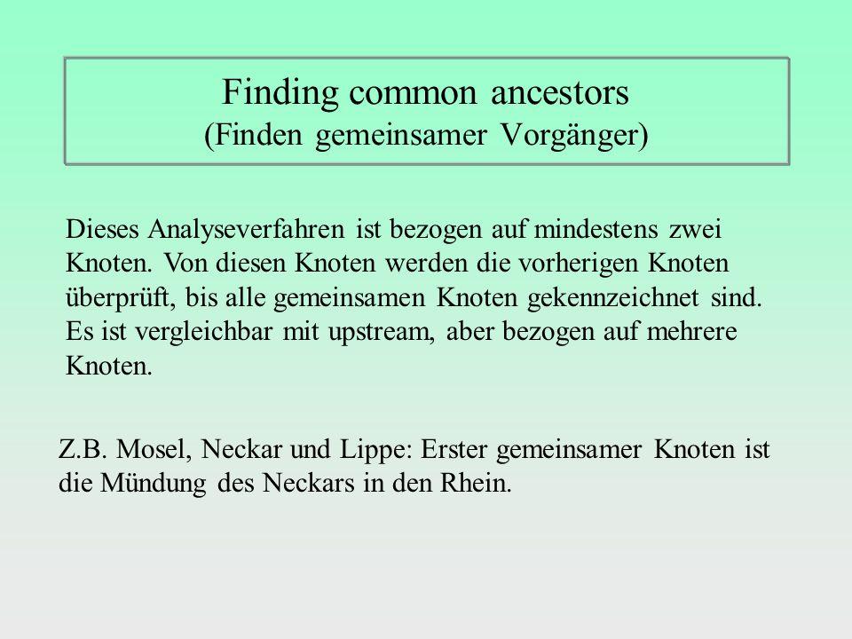 Finding common ancestors (Finden gemeinsamer Vorgänger) Dieses Analyseverfahren ist bezogen auf mindestens zwei Knoten.