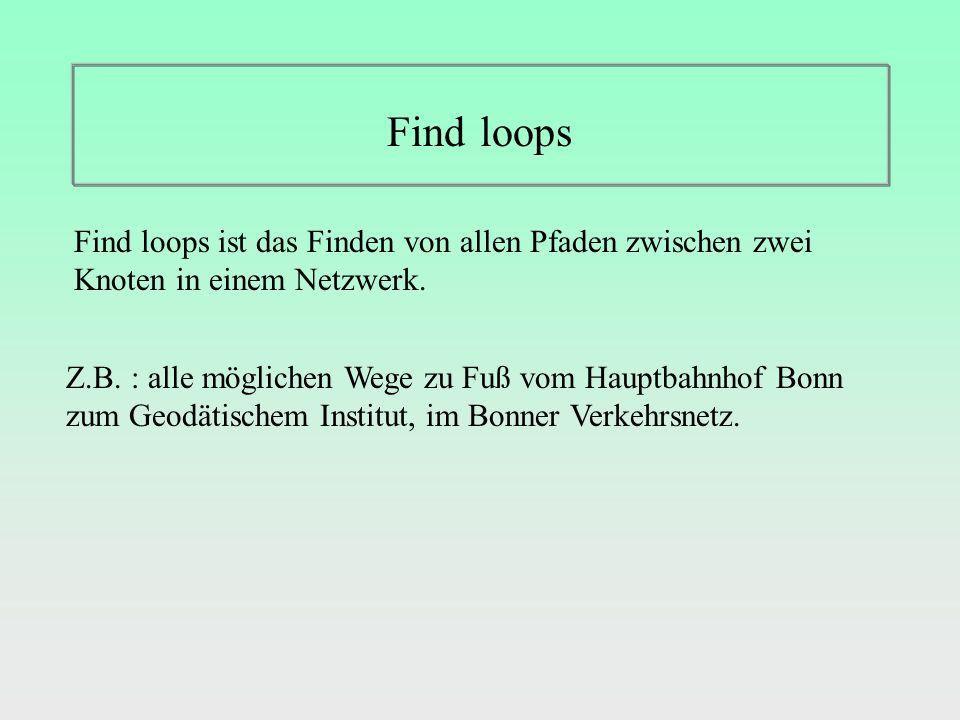 Find loops Find loops ist das Finden von allen Pfaden zwischen zwei Knoten in einem Netzwerk.