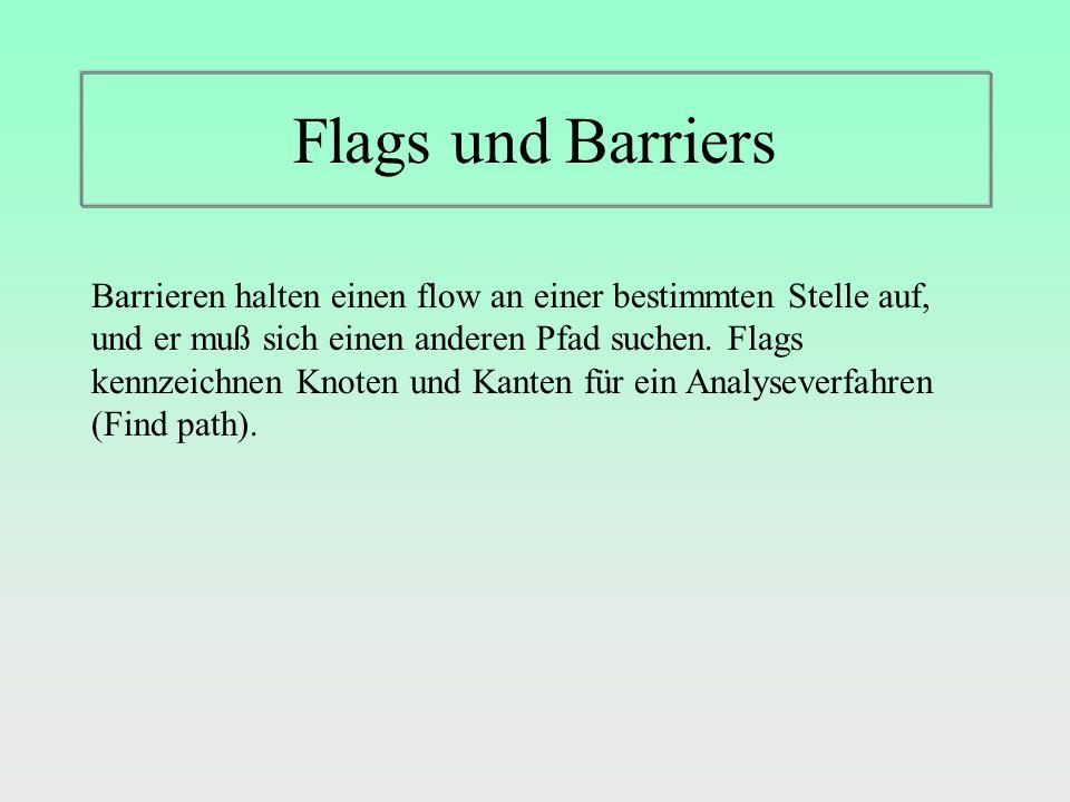 Flags und Barriers Barrieren halten einen flow an einer bestimmten Stelle auf, und er muß sich einen anderen Pfad suchen.