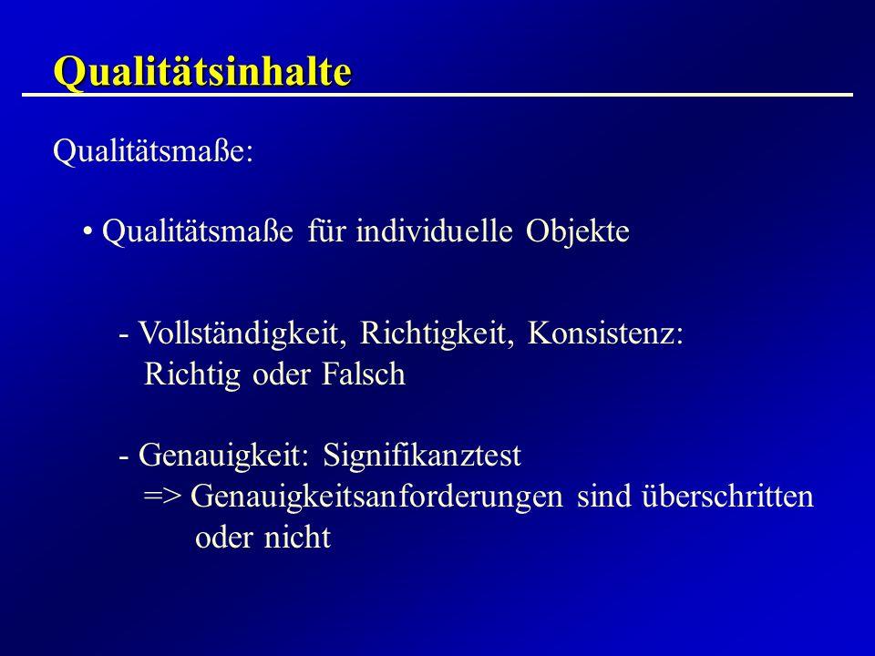 Qualitätsinhalte Qualitätsmaße: Qualitätsmaße für individuelle Objekte - Vollständigkeit, Richtigkeit, Konsistenz: Richtig oder Falsch - Genauigkeit: