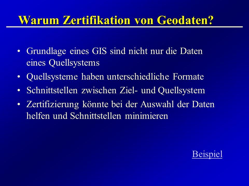 Warum Zertifikation von Geodaten? Grundlage eines GIS sind nicht nur die Daten eines Quellsystems Quellsysteme haben unterschiedliche Formate Schnitts
