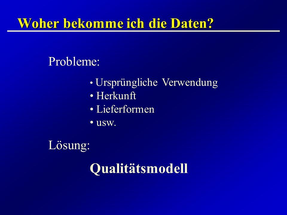 Woher bekomme ich die Daten? Probleme: Ursprüngliche Verwendung Herkunft Lieferformen usw. Lösung: Qualitätsmodell