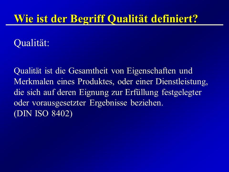 Wie ist der Begriff Qualität definiert? Qualität: Qualität ist die Gesamtheit von Eigenschaften und Merkmalen eines Produktes, oder einer Dienstleistu