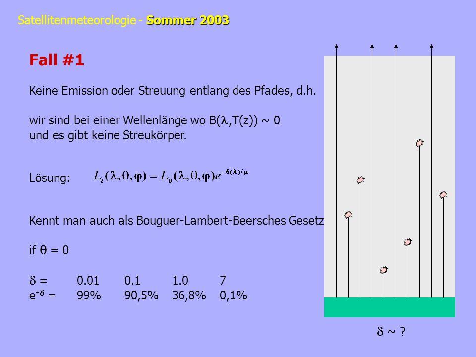 Sommer 2003 Satellitenmeteorologie - Sommer 2003 Fall #1 Keine Emission oder Streuung entlang des Pfades, d.h. wir sind bei einer Wellenlänge wo B(,T(