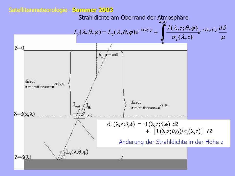 Sommer 2003 Satellitenmeteorologie - Sommer 2003 dL(,z;, ) = -L(,z;, ) d + [J (,z;, )/ e (,z)] d Änderung der Strahldichte in der Höhe z Strahldichte