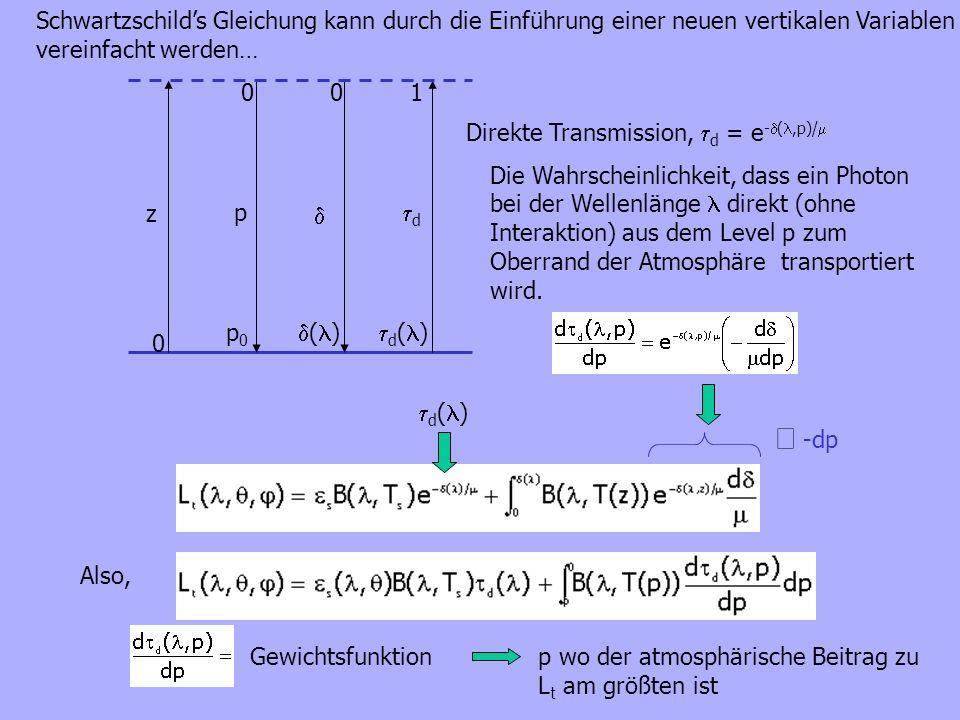 z 0 p 0 d 1 0 Direkte Transmission, d = e - (,p)/ d ( ) ( ) p0p0 -dp Also, d ( ) Schwartzschilds Gleichung kann durch die Einführung einer neuen verti