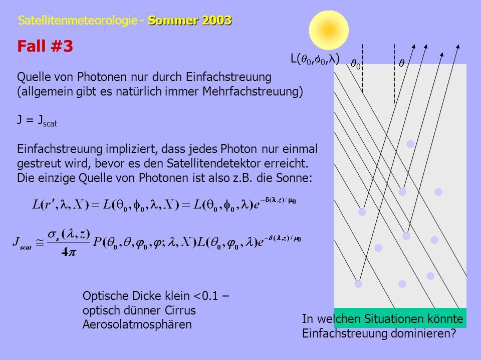 Sommer 2003 Satellitenmeteorologie - Sommer 2003 L( 0, 0, ) 0 Fall #3 Quelle von Photonen nur durch Einfachstreuung (allgemein gibt es natürlich immer