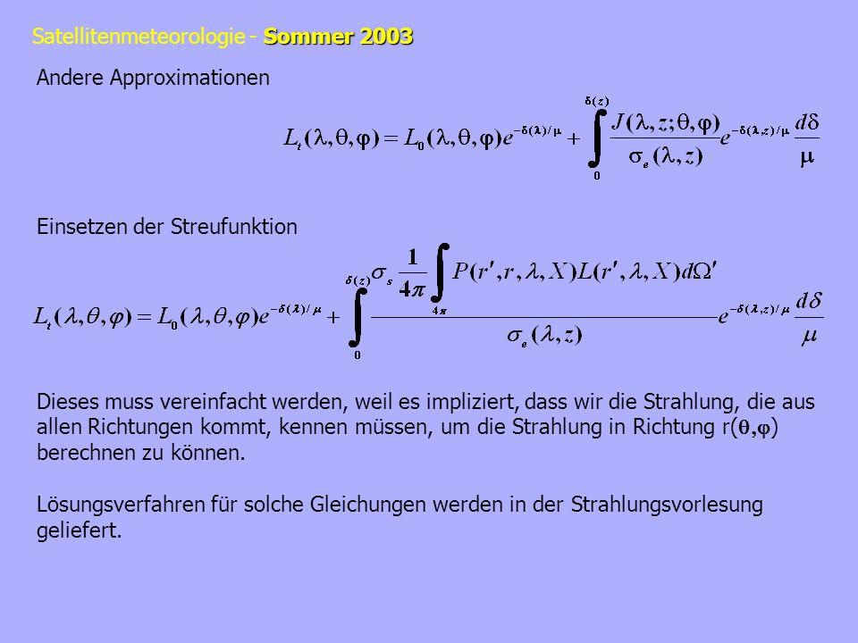 Sommer 2003 Satellitenmeteorologie - Sommer 2003 Andere Approximationen Einsetzen der Streufunktion Dieses muss vereinfacht werden, weil es impliziert