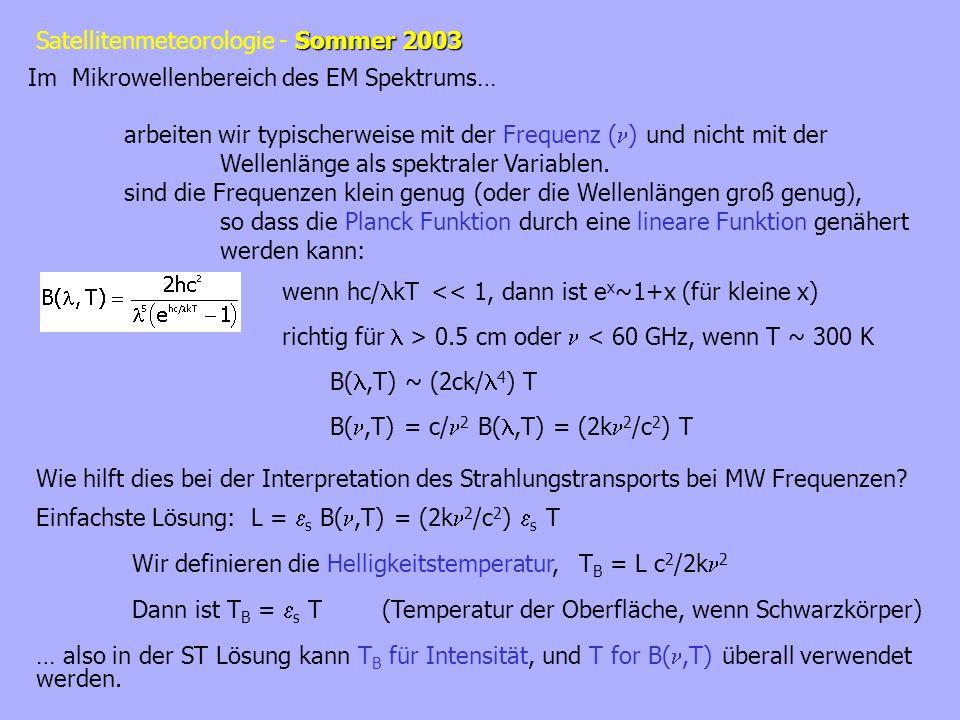 Sommer 2003 Satellitenmeteorologie - Sommer 2003 Im Mikrowellenbereich des EM Spektrums… arbeiten wir typischerweise mit der Frequenz ( ) und nicht mi