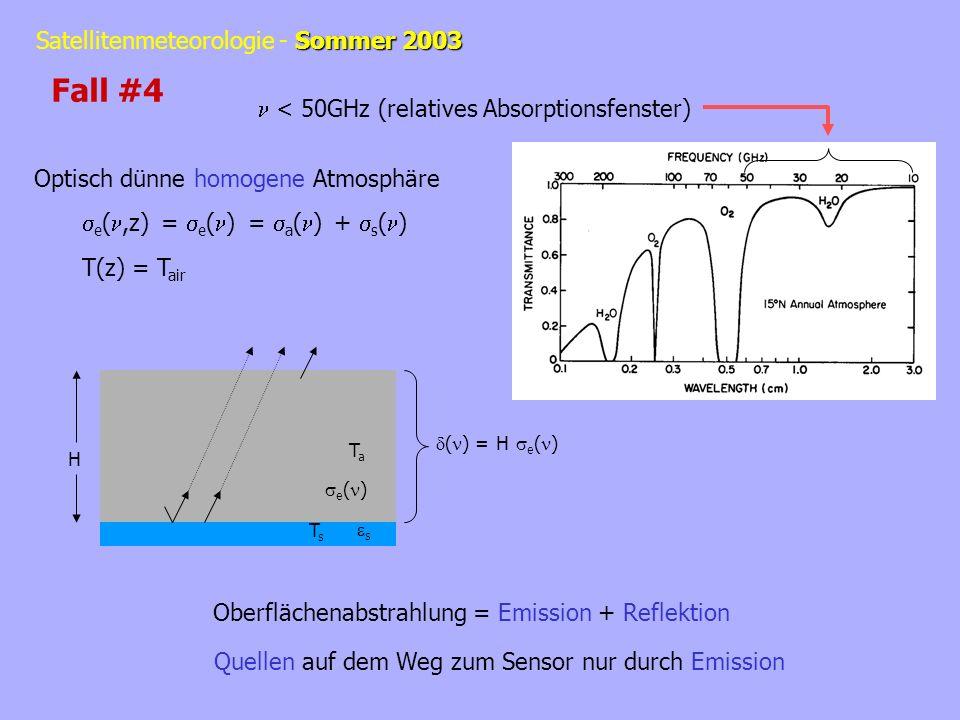 Sommer 2003 Satellitenmeteorologie - Sommer 2003 < 50GHz (relatives Absorptionsfenster) Optisch dünne homogene Atmosphäre e (,z) = e ( ) = a ( ) + s (