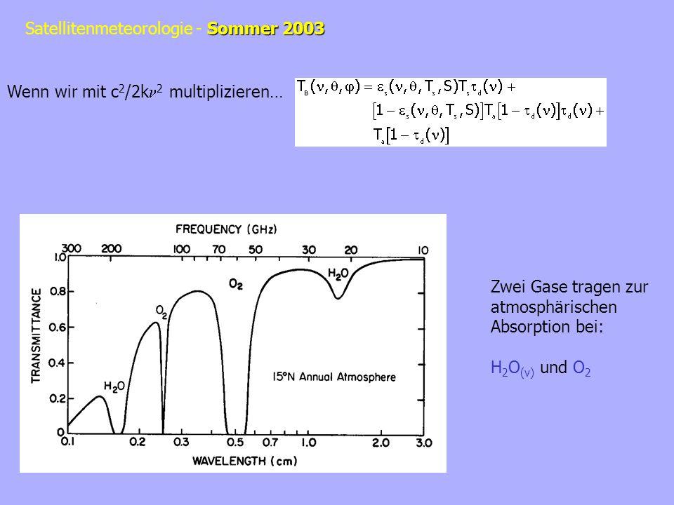 Sommer 2003 Satellitenmeteorologie - Sommer 2003 Wenn wir mit c 2 /2k 2 multiplizieren… Zwei Gase tragen zur atmosphärischen Absorption bei: H 2 O (v)