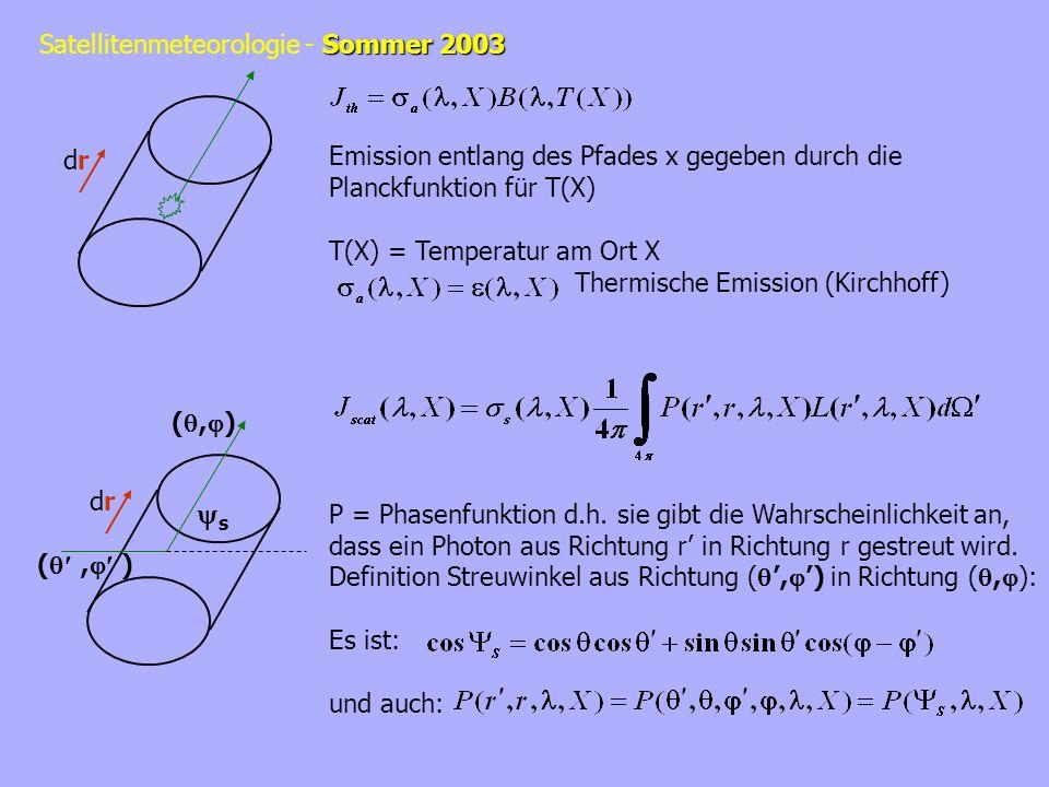 Sommer 2003 Satellitenmeteorologie - Sommer 2003 drdr drdr (, ) s Emission entlang des Pfades x gegeben durch die Planckfunktion für T(X) T(X) = Tempe