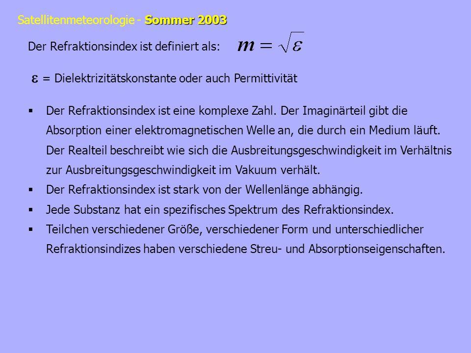 Sommer 2003 Satellitenmeteorologie - Sommer 2003 Der Refraktionsindex ist definiert als: = Dielektrizitätskonstante oder auch Permittivität Der Refrak