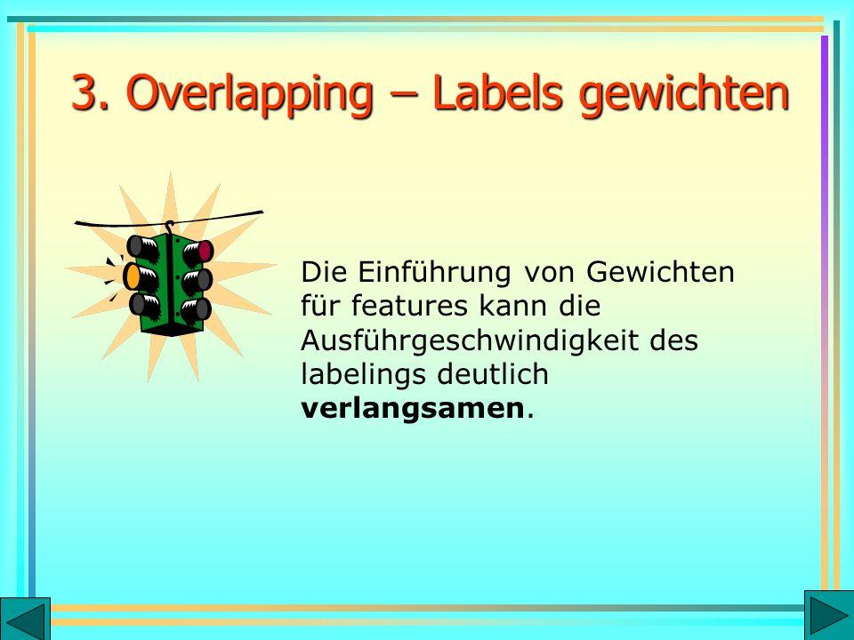 3. Overlapping – Labels gewichten Die Einführung von Gewichten für features kann die Ausführgeschwindigkeit des labelings deutlich verlangsamen.
