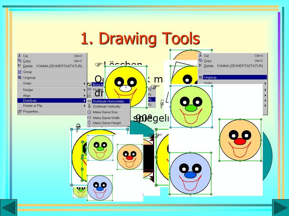 90° spiegeln Löschen Oder Grafik markieren und ENTF drücken 1. Drawing Tools