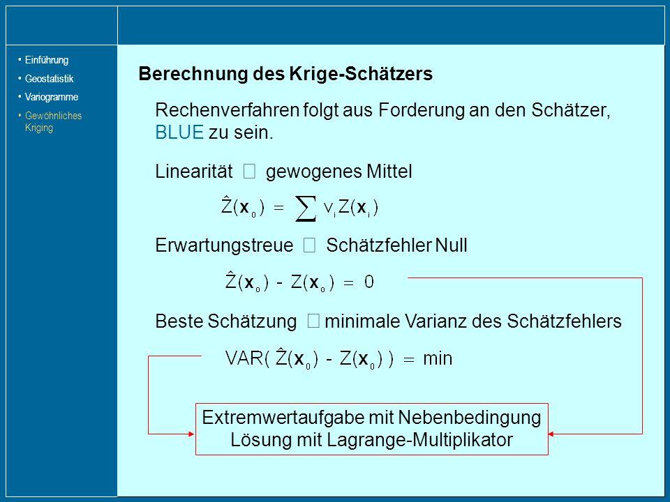 Berechnung des Krige-Schätzers Rechenverfahren folgt aus Forderung an den Schätzer, BLUE zu sein. Linearität gewogenes Mittel Erwartungstreue Schätzfe
